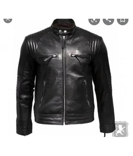 MOZRI Black 100% Genuine Vintage Leather Highneck Jacket for Men's