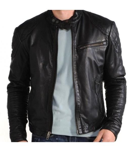 MOZRI Jet Black 100% Genuine Vintage Leather Jacket for Men's