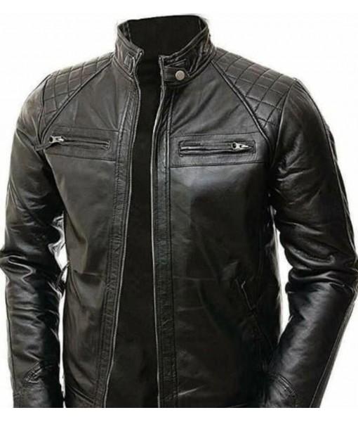 MOZRI Black 100% Genuine Vintage Leather Jacket for Men's