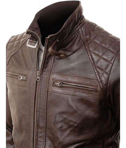 MOZRI 100% Genuine Leather Antique brown Men's Jacket