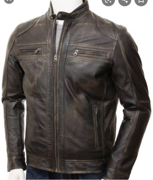 MOZRI  100% Genuine  Vintage Leather Jacket for Men's