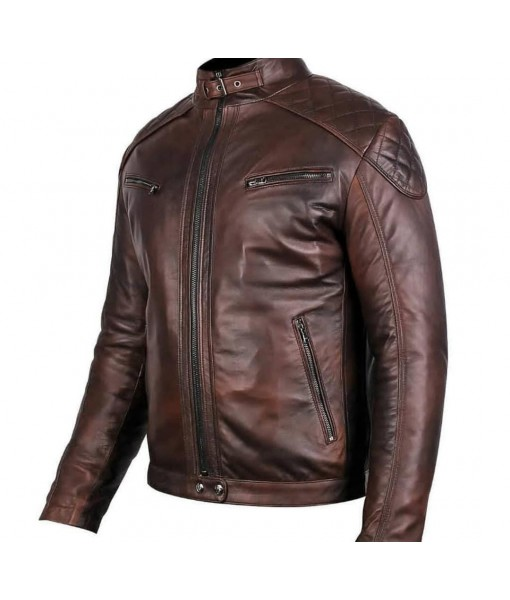 MOZRI  100% Genuine  Lambskin Leather Jacket for Men's