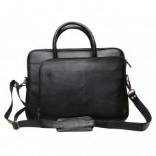 MOZRI 100% Genuine Leather 15 inch Laptop Messenger Bag (Black)