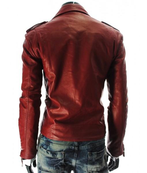 MOZRI 100% Genuine Leather Red Men's Jacket