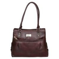 Mozri 100% Genuine Leather 13 inch Brown Shoulder Bag for Women's