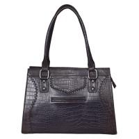 Mozri 100% Genuine Leather 12 inch Voilet Shoulder Bag for Women's