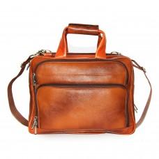 MOZRI 16 inch Expandable 100% Genuine Leather Laptop Messenger Bag  (Tan)