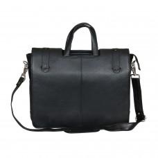 Mozri 100% Genuine Leather 14 inch Laptop Messenger Bag (Black)
