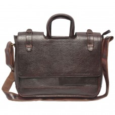 Mozri 100% Genuine Leather 14 inch Laptop Messenger Bag (Brown)