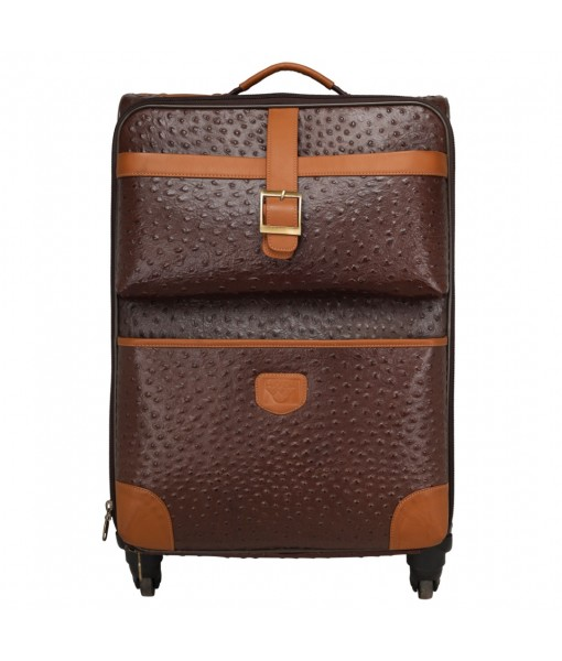 MOZRI Genuine Ostrich Print Leather Check-in Trolley Capacity 52 litres 4 Wheel's
