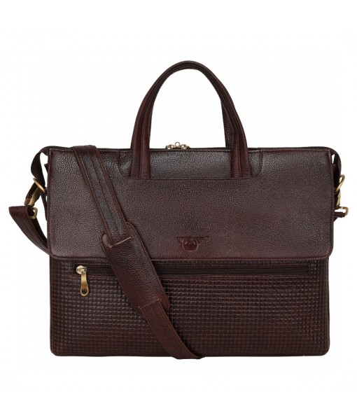 MOZRI Leather Natural Leather Laptop Briefcase Messenger Shoulder Bags for Men's Office (CROCO BROWN)
