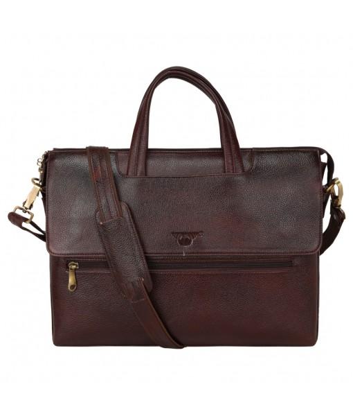 MOZRI Leather Natural Leather Laptop Briefcase Messenger Shoulder Bags for Men's Office (BROWN)
