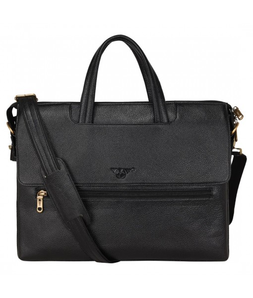 MOZRI Leather Natural Leather Laptop Briefcase Messenger Shoulder Bags for Men's Office (BLACK)