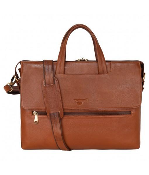 MOZRI Leather Natural Leather Laptop Briefcase Messenger Shoulder Bags for Men's Office (TAN)