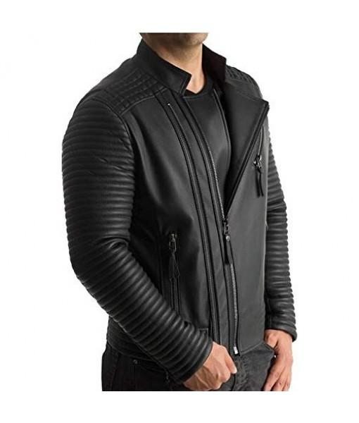Mozri 100% Genuine Black Leather Jacket For Men