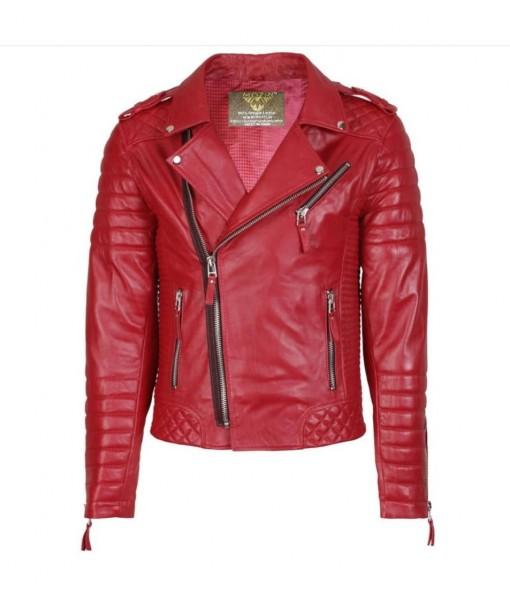 Mozri 100% genuine biker leather jacket for mens
