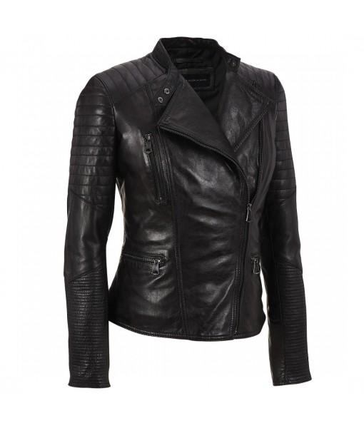 Mozri 100% genuine biker leather jacket for womens