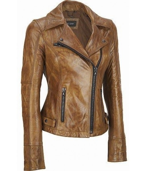 Mozri 100% genuine biker leather jacket for womens