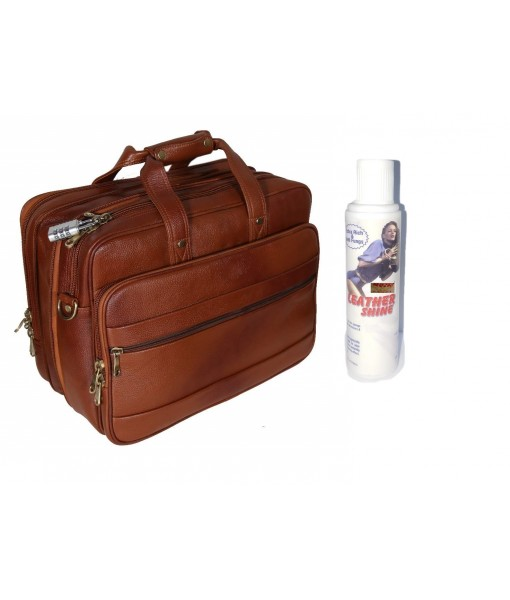 Mozri Leather Accessories 16 Inch 24 litres Capacity Leather Laptop Office Briefcase for Men Upto16 inch Laptop
