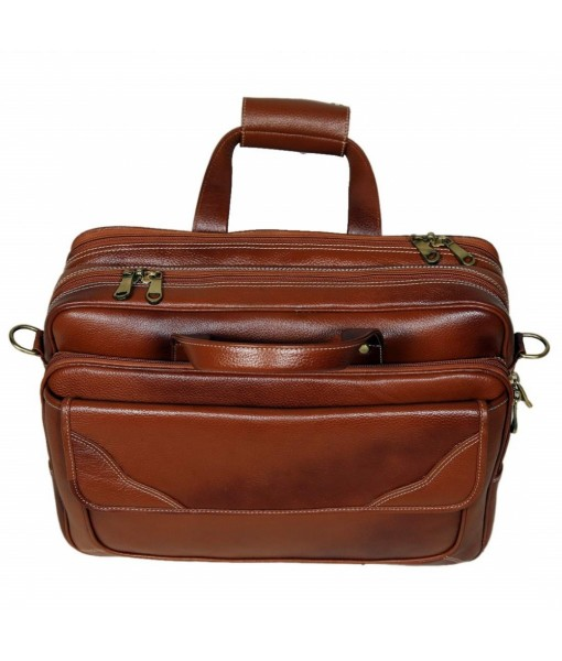 Mozri 100% Leather Shoulder Bag for Men & Women with Expandable Features & Comfortable 15.6'' Inches Laptop Compartment