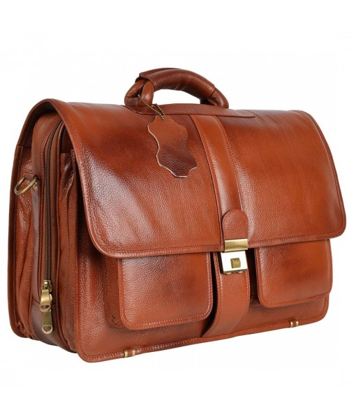 Mozri Leather Accessories The Compact of 24 Liter's Capacity Leather Laptop Briefcase Office Bags for Men L-45.7 x H-35.6 x W-15.2 cm