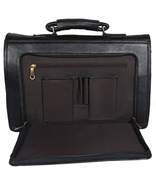 Mozri Leather Accessories 17'' Inch Laptop Men's Briefcase Bag Up to 16'' Inch Laptop Compartment 24 Litre's Capacity Expandable Feature's Amite Swiss Security Lock Closure
