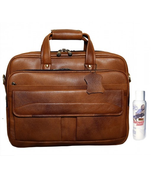 Mozri Leather Accessories 16 Inch Men's Leather Briefcase Laptop Bag