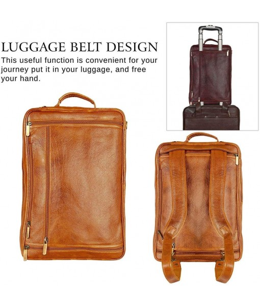 Mozri Leather Accessories 18 Inch 4 Use Leather Backpack Bag for Men and Women