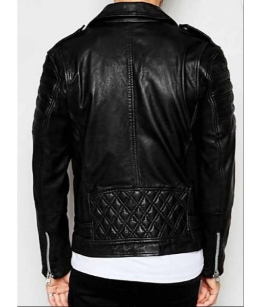 MOZRI  100% Genuine Biker  Leather Jacket for Men's
