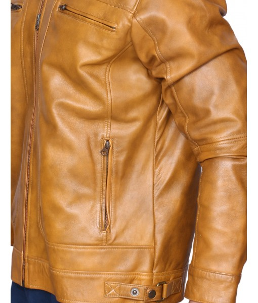 MOZRI 100% Genuine Leather Beige Men's Jacket