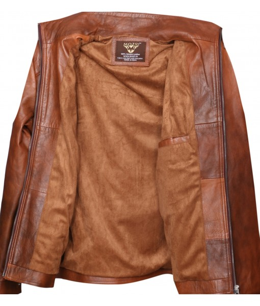 MOZRI 100% Genuine Leather Antique Tan Men's Jacket