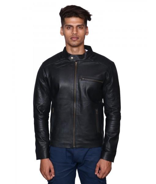 MOZRI 100% Genuine Leather Black Men's Jacket