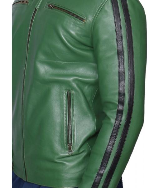 MOZRI 100% Genuine Leather Green Men's Jacket