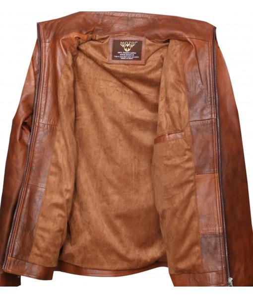 MOZRI 100% Genuine Leather Antique Tan Men's Jacket