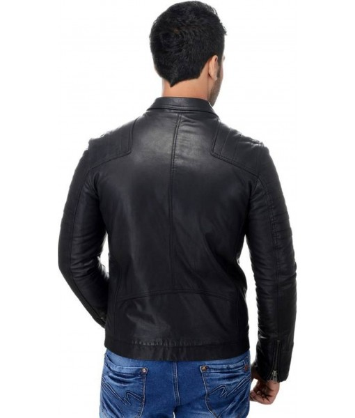 MOZRI 100% Genuine Biker Leather Black Men's Jacket