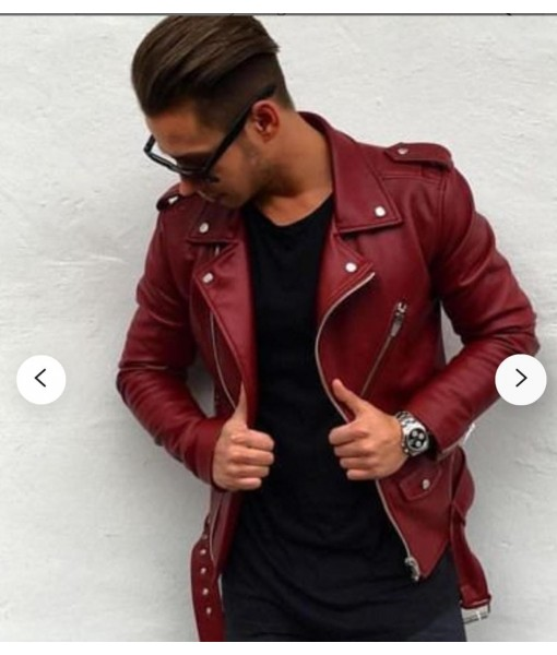 Mozri 100% genuine biker leather jacket for mens