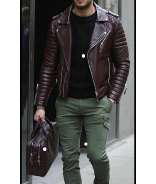 Mozri 100% Genuine Biker Leather Jacket For Men