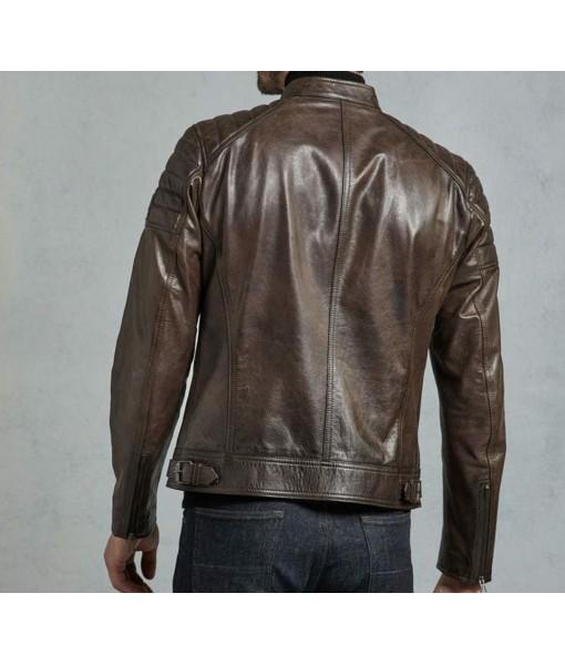 Mozri 100% Genuine Brown Leather Jacket For Men