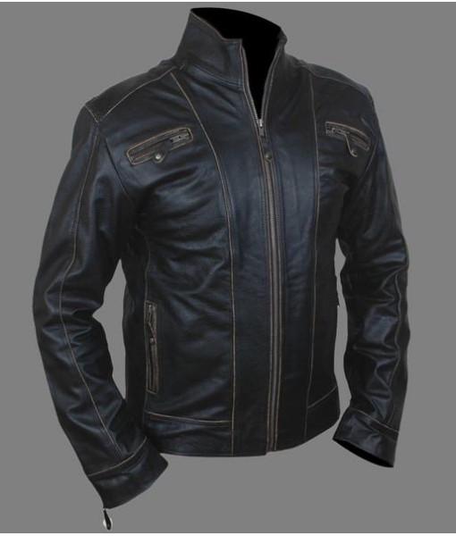 Mozri 100% genuine Black Rub buff leather jacket for mens
