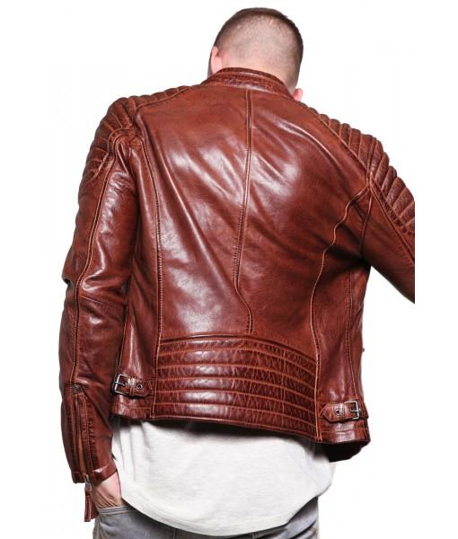MOZRI 100% Genuine Leather Cherry Maroon Double Tone Men's Jacket