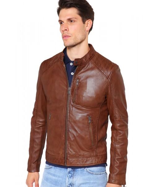 MOZRI 100% Genuine Leather Brown Men's Jacket