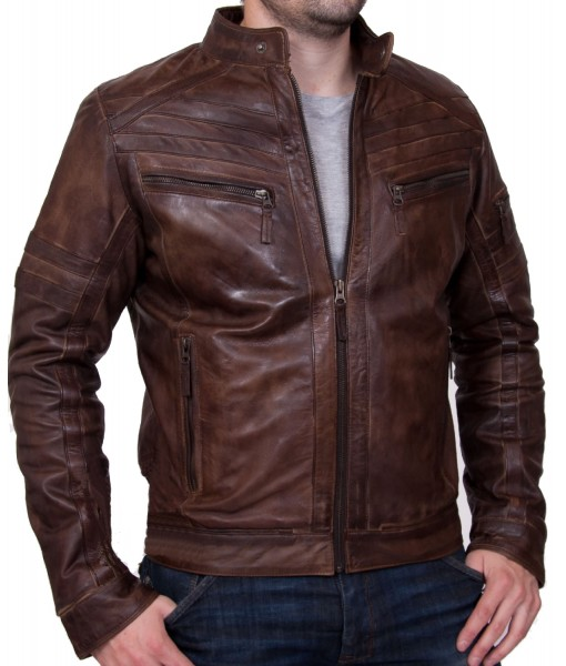 MOZRI 100% Genuine Leather Brown Men's Jacket