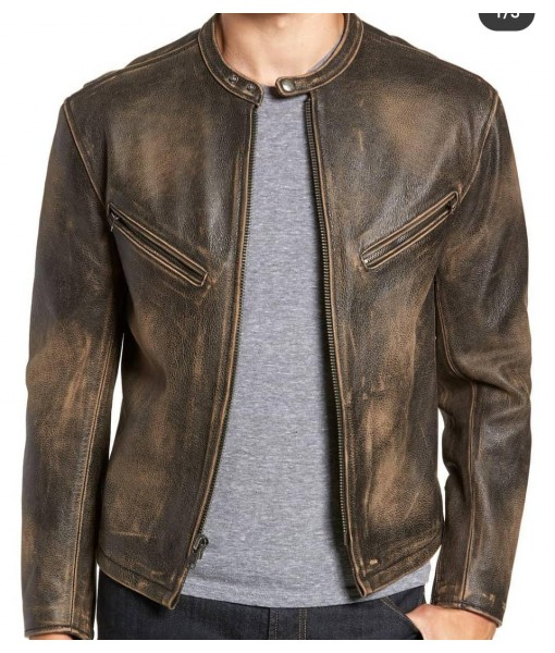 MOZRI  100% Genuine  Buffalo  Leather Jacket for Men's