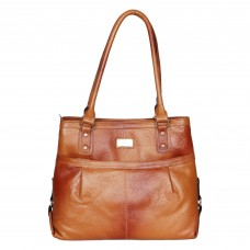 Mozri 100% Genuine Leather 13 inch Tan Shoulder Bag for Women's