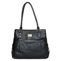 Mozri 100% Genuine Leather 13 inch Black Shoulder Bag for Women's