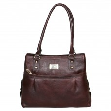 Mozri 100% Genuine Leather 13 inch Brown Shoulder Bag for Women's