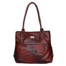 Mozri 100% Genuine Leather 13 inch Maroon Shoulder Bag for Women's