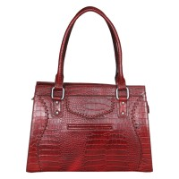 Mozri 100% Genuine Leather 12 inch Maroon Shoulder Bag for Women's