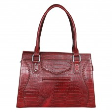 Mozri 100% Genuine Leather 12 inch Maroon Shoulder Bag for Women's