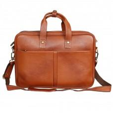 MOZRI 100% Genuine Leather 15 inch Laptop Messenger cum Office Bag  (Tan)